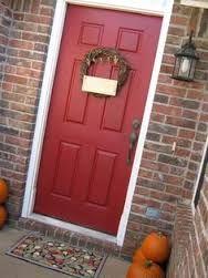 Glidden red delicious paint Color for front door Exterior Door Colors, Front Door Paint Colors, Exterior Front Doors, Paint Colors For Home, Front Door Decor, House Colors, Front Porch, Farmhouse Paint Colors, Farmhouse Chic