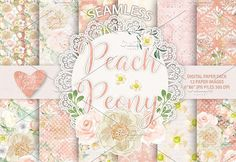 Watercolor peony peach digital paper. Wedding Card Templates