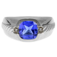 Men's Tanzanite and Diamond Accent Ring In White Gold Available Exclusively at Gemologica.com