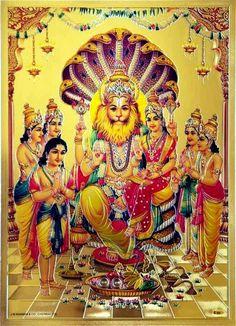 lord prahalad narsimh a swami-gold original Shiva Art, Krishna Art, Hindu Art, Lord Murugan Wallpapers, Lord Krishna Wallpapers, Vishnu Mantra, Shri Ram Wallpaper, Lord Rama Images, Lord Balaji