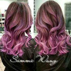 pink balayage dark hair before after - Google Search