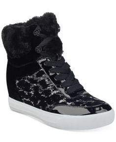 Guess Women's Daylana Wedge Sneakers - Black 8.5M