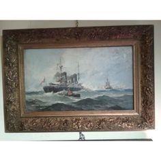 Coppia dipinti olio su tela - marine - Fiume - primi '900