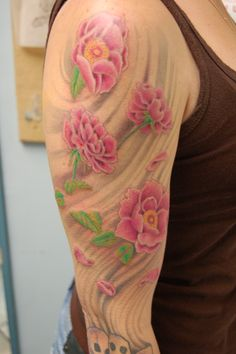 1a44c8b70c688 Peony sleeve tattoo by Tom Beasley owner of Dragon Moon Tattoo Studio, Glen  Burnie, MD