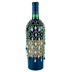 Green Beaded Wine Bottle Cover or Skirt with Grapes, at www.alwayselegant.com