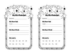 This bookmark helps students become more independent with their reading goals. We use the IRLA (American Reading Company) Program at our school, and I created this to help students track their power goal, power words, and current IRLA Reading level. This book mark includes levels 1G-1BR.