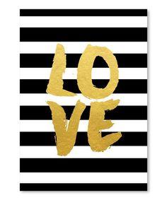 'Love' Stripe Wall Art #zulily #zulilyfinds