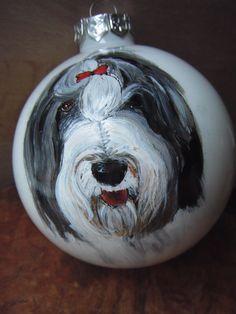 bearded collie portrait on glass ornament