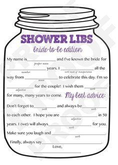 Wedding Mad Libs Game for the Bride to Be at the Bridal Shower Bridal Shower Game-- Mason Jar Theme Shower Game, Mad Libs for the Bride to Be- Purple . Wedding Mad Libs Game for the Bride to Be at the Bridal Shower Bridal Shower Planning, Wedding Shower Games, Bridal Shower Party, Bridal Shower Decorations, Bridal Shower Invitations, Wedding Planning, Bride Shower, Party Planning, Wedding Decorations