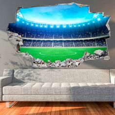 3D-Vinyl-Wandsticker Fußballstadion