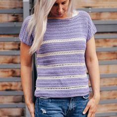 Riviera Top This top is a fun summer garment; a cap sleeve top that's soft, cool, and so easy to wear. Bust: S M L (XL) Length: S M L XL ( Armhole: S M L XL **Any fingering weight yarn can be used. Please note that this is Mode Crochet, Knit Crochet, Crochet Tops, Crochet Summer, Crochet Sweaters, Knit Tops, Crochet Designs, Crochet Patterns, Crochet Cardigan Pattern