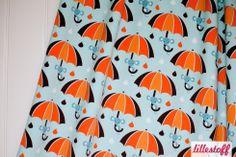 Baumwolljersey Lillestoff Rainymice Regenschirm Maus  Tropfen Jersey Stoff GOTS