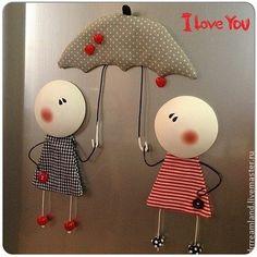 """Магнит """"Влюбленный дождь"""" - магнит,магнит на,гипс,подарок,кухня,кухо,гипс"""