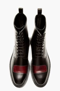 YANG LI Black & Burgundy Half-strap BOOTs