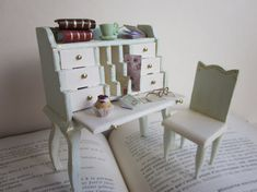 Dollhouse Miniature Desk by MyCupTeaMiniatures on Etsy, €50.00