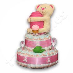 Seguimos con nuestras creaciones y ahora toca nuestras tartas mas clásicas en rosa y celeste, mantita muy calentita y peluche para el pequeño, si quieres ver precio y contenido entra http://tartanal.es/tartas-de-panales-2-pisos/200-tarta-de-panales-oso.html