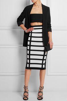 Balmain top and skirt, Alaia shoes