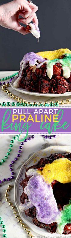 Mardi Gras Praline Pull-Apart King Cake