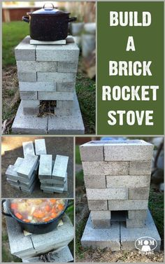 Mom with a PREP - Building a Brick Rocket Stove for your backyard gives you an alterntaive cooking source just in case. This is a quick and easy project to do this weekend! by elva Homestead Survival, Camping Survival, Survival Prepping, Emergency Preparedness, Survival Skills, Urban Survival, Survival Shelter, Outdoor Projects, Easy Projects