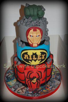 Mini tiered Superhero Cake