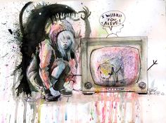 such a scare picture, use the watercolor painting make this picture more vivid.