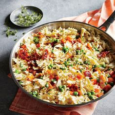 Mini Bow Ties with Bacon and Peas   Finishing your peas and carrots is exponentially more exciting when bacon is involved. In fact, almost every dish is more exciting when bacon comes to play, so feel free to swap your family's favorite veggies into this versatile pasta.   CookingLight