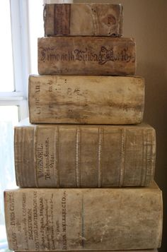 Is there anything more beautiful than a giant stack of antiquarian books with vellum bindings? Old Books, Antique Books, Vintage Books, Book Libros, Leather Books, Library Books, Dream Library, Book Nooks, I Love Books