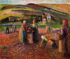 Picking Potatoes. La Recolte Des Pommes de Terre, 1893 by Camille Pissarro.