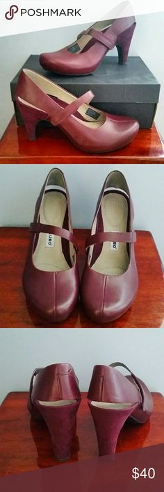 """Tsubo Acrea in Aubergine Beautiful and comfortable leather slingback pumps in Aubergine. 3 3/4"""" heel includes 1"""" covered platform, so it feels more like a lower heel. Rubber sole with non-slip grip. Never worn, in original box. Tsubo Shoes Heels"""