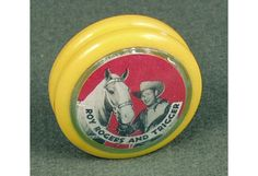All Western Plastics released this Round-up King Yo-Yo in the 1950's. It features movie cowboy (and company spokesperson) Roy Rogers and his horse Trigger. #westerns