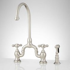 Ponticello Bridge Kitchen Faucet with Side Spray - Cross Handles