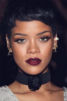 Rihanna wearing burgundy lipstick