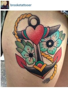 Anchor flower heart tattoo