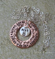 Personalized Necklace - Metal Stamped Necklace - Hand Stamped Jewelry - Teacher appreciation