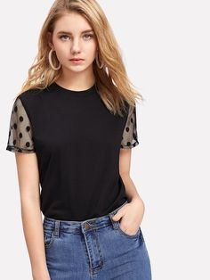Online shopping for Polka Dot Mesh Panel Sleeve Tee from a great selection of women's fashion clothing & more at MakeMeChic. Latest T Shirt, Printed Jumpsuit, T Shirts For Women, Clothes For Women, Outfits For Teens, Diy Clothes, Fashion News, Fashion Styles, Couture