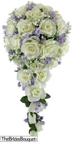 Sweet Lavender Silk Rose Cascade - Wedding Bouquet
