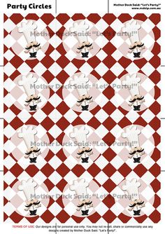 Red Master Chef / Cooking Party Cupcake toppers / Party Circles