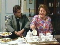 A candle lit tea party by Hyacith Bouquet__Image detail for The Official Keeping Up Appearances Fan Club and Forum & BBC British Tv Comedies, British Comedy, British Actors, Bbc Tv Shows, Keeping Up Appearances, Comedy Tv, Comedy Series, Cuppa Tea, Classic Tv