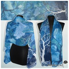 Silk painting by Mikulu. This is a scarf, but the draping suggests a rectagular shrug would be successful. myb