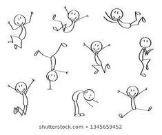 Cute Easy Drawings, Art Drawings For Kids, Doodle Drawings, Drawing For Kids, Art For Kids, Stick Figure Drawing, Figure Drawings, Doodle People, Easy Doodle Art