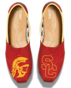 University of Southern California USC Trojan custom painted TOMS shoes on Etsy, $140.00