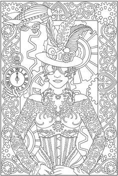 Free coloring page coloring-adult-clock-woman. Coloring page of a woman with clothes and accessories inspired by clocks, watches ...