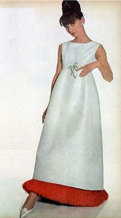 1964 Audrey Hepburn ~ wearing gown of white faille fringed at the hem with scarlett ostrich feathers by Givenchy, hair by Alexandre, shoes by Roger Vivier, photo by Penn