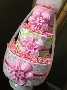 Pink Sweet Baby Girl Diaper Cake for Baby Shower Centerpiece and New Baby Gift