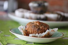 Healthy chocolate chip muffins.  I would substitute the honey with more applesauce, and the chocolate chips with unsweetened carob chips.
