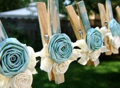French Shabby Chic Cottage decorative clothespins teal aqua decorated clothes pegs set of 6 pins with handmade flowers paper flower Handmade Flowers, Diy Flowers, Fabric Flowers, Paper Flowers, Cute Crafts, Easy Crafts, Decorated Clothes Pins, Little Presents, Clothes Pegs