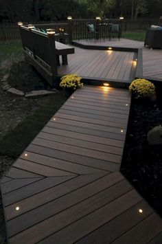Lighting is an important for a deck. With proper deck lighting, your deck will look gorgeous. Here we have deck lighting ideas to lighten up your deck Backyard Lighting, Deck Lighting, Landscape Lighting, Lighting Ideas, Exterior Lighting, House Lighting, Patio Deck Designs, Patio Design, Garden Design