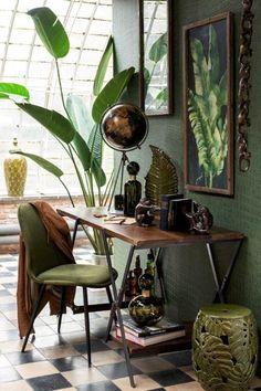 Interior Architecture, Interior And Exterior, Interior Design, Botanical Interior, Jungle Bedroom, Masculine Interior, Lets Stay Home, Green Texture, Bedroom Color Schemes