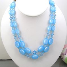 """Blue Choker Necklace, Moonglow Plastic Beads & Crystals, Two Strands, 16"""" Length, Vintage c1950, MidCentury Costume Jewelry"""