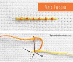 Aprenda a bordar o Ponto Couching para trabalhar peças em bordado livre.